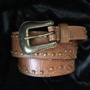 Chico's Vintage Genuine- Leather belt studs LG